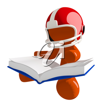 Football player orange man reading a book while sitting down. Its a really big book.