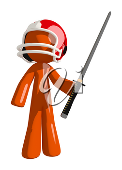 Football player orange man a ninja sword posed and ready for action in that familiar hero stance.