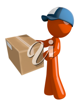 Orange Man postal mail worker  Delivering a Package