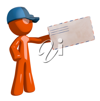 Orange Man postal mail worker  Presenting Envelope