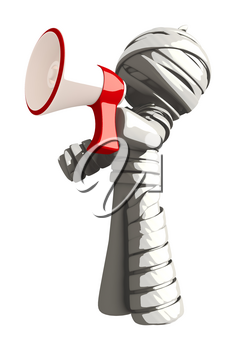 Mummy or Personal Injury Concept Yelling Through Megaphone