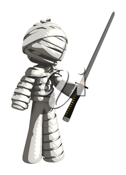 Mummy or Personal Injury Concept Holding Ninja Sword