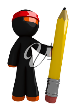 Orange Man Ninja Warrior Holding Giant Pencil