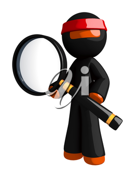Orange Man Ninja Warrior Posing with Magnifying Glass