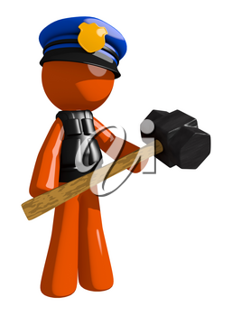 Orange Man police officer  Man Holding Giant Sledge Hammer