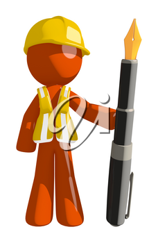 Orange Man Construction Worker  Holding Fountain Pen