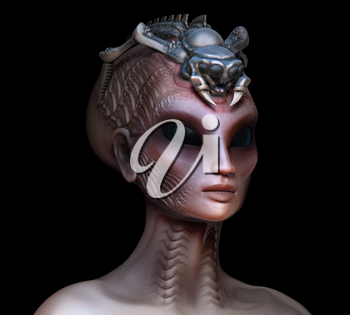 Hybrid alien woman queen with embedded parasite crown side view left on black
