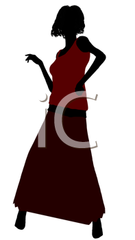 Royalty Free Clipart Image of a Woman in a Long Skirt