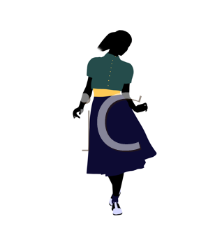 Royalty Free Clipart Image of a Girl in 50s Clothes