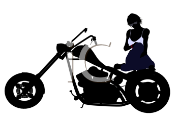 Royalty Free Clipart Image of a Woman on a Motorcycle