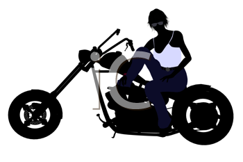 Royalty Free Clipart Image of a Girl on a Motorcycle