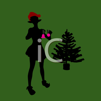 Royalty Free Clipart Image of a Woman Decorating a Tree Against a Green Background