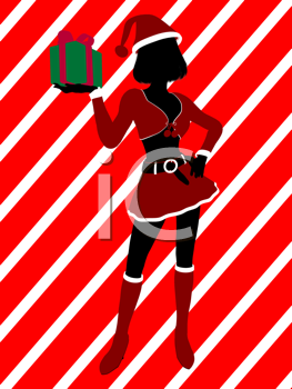 Royalty Free Clipart Image of a Girl With a Gift