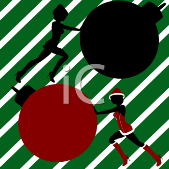 Royalty Free Clipart Image of Two Elves Pushing Big Ornaments