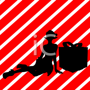 Royalty Free Clipart Image of a Santa Elf With a Gift on a Red Striped Background