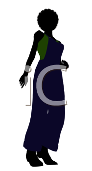 Royalty Free Clipart Image of a Woman in Overalls