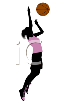 Royalty Free Clipart Image of a Female Basketball Player