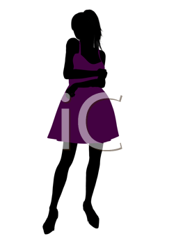 Royalty Free Clipart Image of a Girl in a Purple