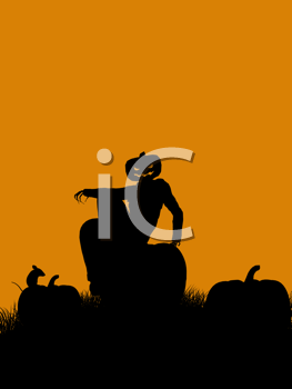 Royalty Free Clipart Image of a Halloween Scarecrow