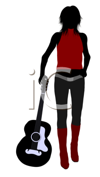 Royalty Free Clipart Image of a Guitarist