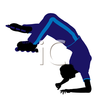 Royalty Free Clipart Image of a Roller Skater Doing a Handstand