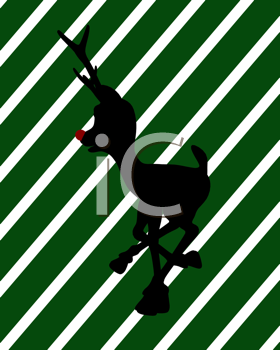 Royalty Free Clipart Image of Rudolph on a Striped Background