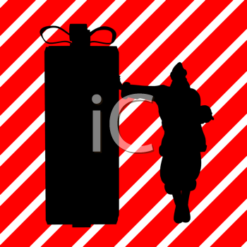 Royalty Free Clipart Image of Santa Leaning on a Container