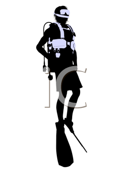 Royalty Free Clipart Image of a Scuba Diver