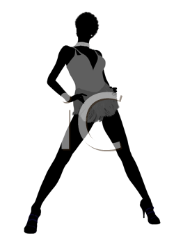 Royalty Free Clipart Image of a Woman in a Short Outfit and Heels