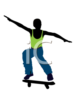 Royalty Free Clipart Image of a Skateboarder