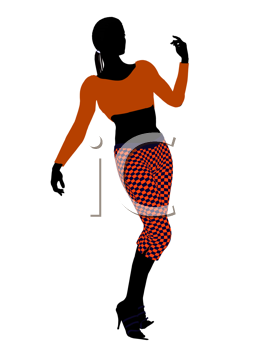 Royalty Free Clipart Image of a Woman in Funky Orange Clothes