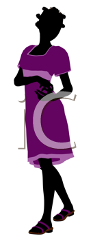 Royalty Free Clipart Image of a Girl in a Purple Dress
