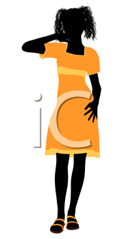 Royalty Free Clipart Image of a Girl in a Yellow Dress