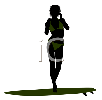 Royalty Free Clipart Image of a Surfer Girl