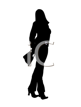 Royalty Free Clipart Image of a Woman With a Purse