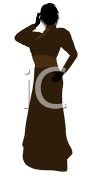 Royalty Free Clipart Image of a Woman in a Victorian Dress