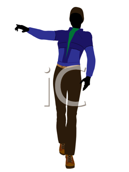 Royalty Free Clipart Image of a Woman in a Blue Jacket