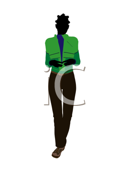 Royalty Free Clipart Image of a Woman in a Green Jacket