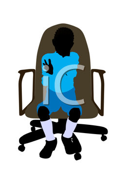 Royalty Free Clipart Image of a Little Boy in a Chair