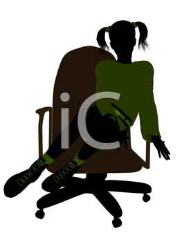 Royalty Free Clipart Image of a Girl in a Chair