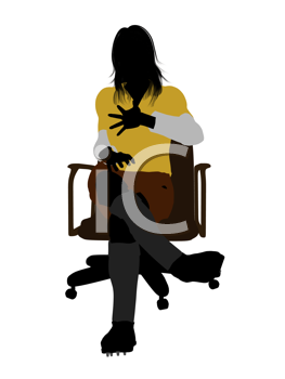 Royalty Free Clipart Image of a Female in a Rugby Uniform  Sitting on a Chair