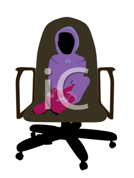 Royalty Free Photo of a Little Girl Wearing a Sweatsuit Sitting in a Chair