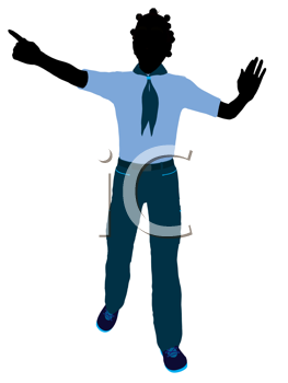 Royalty Free Clipart Image of a Girl Pointing
