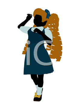 Royalty Free Clipart Image of a Girl in Pigtails