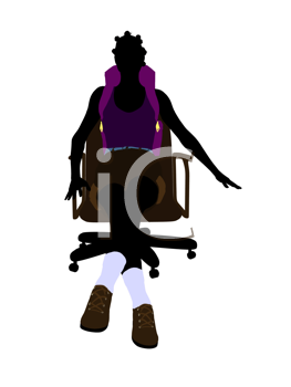 Royalty Free Clipart Image of a Woman Wearing a Backpack Sitting on a Chair