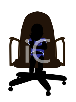 Royalty Free Clipart Image of a Silhouette of a Baby Boy in a Chair