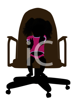 Royalty Free Clipart Image of a Silhouette of a Baby in a Chair