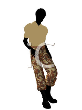 Royalty Free Clipart Image of a Soldier in Camouflage Pants