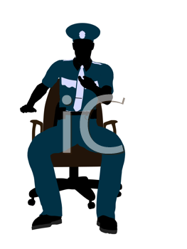 Royalty Free Clipart Image of a Policeman on a Chair