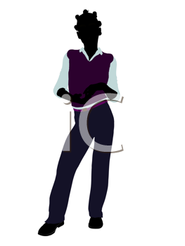 Royalty Free Clipart Image of a Girl in a Vest